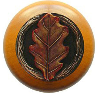 Oak Leaf Maple Wood Knob (hand-tinted brass) - Rustic - Cabinet And ...