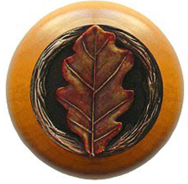 Oak Leaf Maple Wood Knob (hand-tinted brass) - Rustic - Cabinet And Drawer Knobs - by Inviting ...