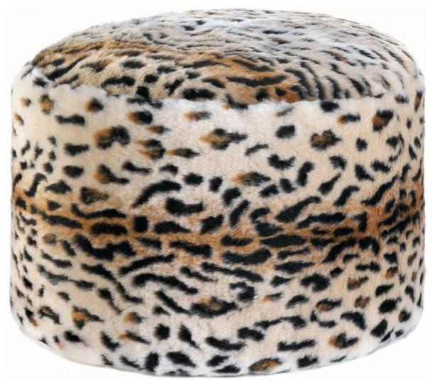 Snow Leopard Fuzzy Pouf.
