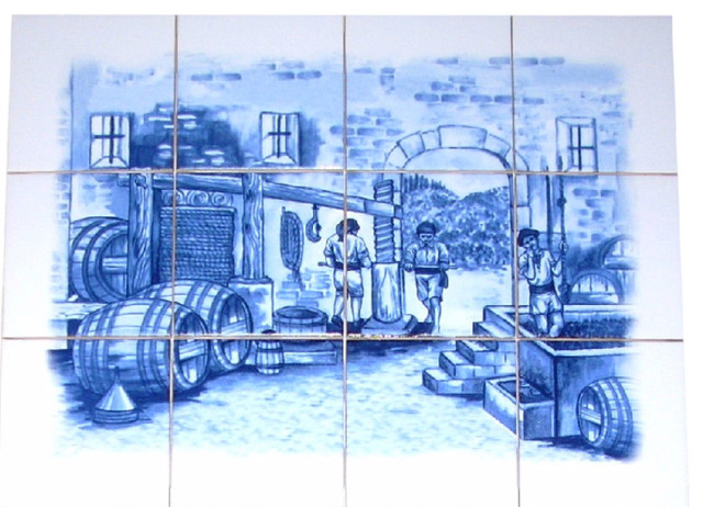 delft blue wine making ceramic tile mural backsplash 12