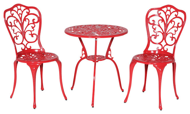Bon Daisy Bistro Table And Chairs Set, Red
