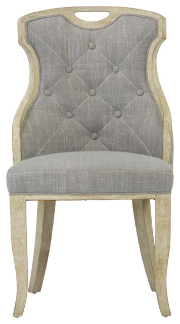 Sofia Gray Linen Back Dining Chair With Handle Set Of 2