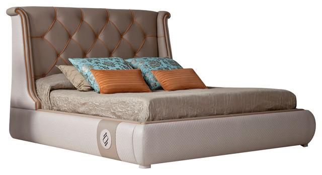 Tecni Nova Upholstered Tufted Complete Bed, Beige.