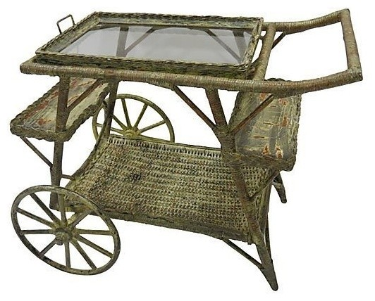 Wicker Rolling Bar Carts By