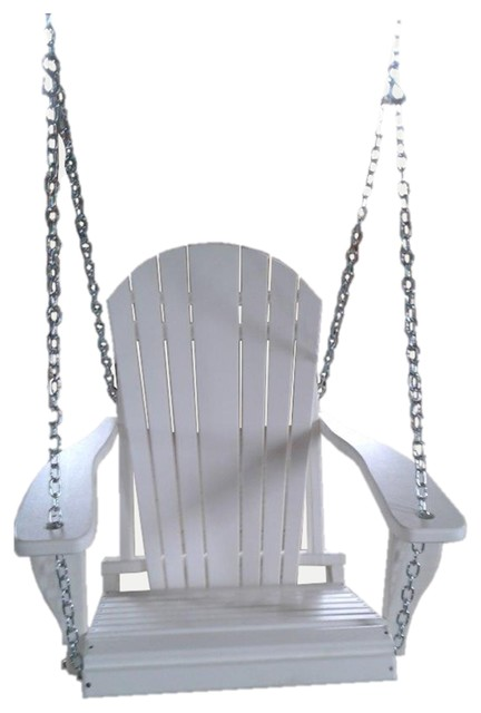 Poly Lumber Adirondack Swing Chair With Chains, White.