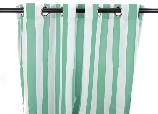 Outdoor Curtain Panel In Spa Stripe Contemporary Curtains By