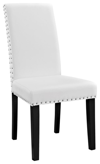 Modern Contemporary Dining Vinyl Side Chair, White Faux Leather.