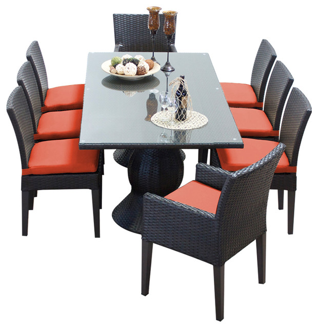 piece outdoor dining table with chair tangerine tropical round room set