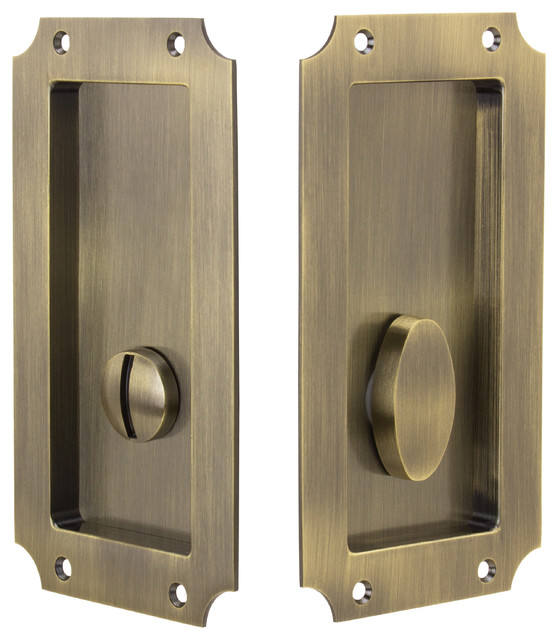 "Privacy Pocket Door Hardware 3-1//4/"" x 2-1//4/"" Solid Brass in 10 Finishes By FPL"