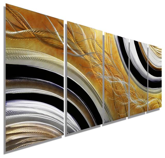 """Honeybee"" Abstract Handmade Modern Metal Wall Painting"