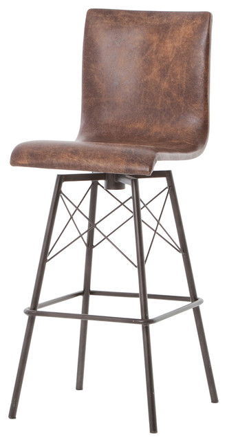 Diaw Iron And Distressed Leather Swivel Barstool Bar Stools