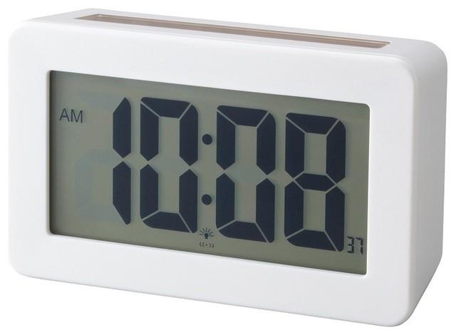 Solar power digital clock modern alarm clocks by lbc for Designer alarm clock