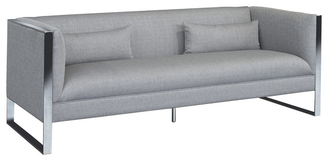 Xenos Contemporary Sofa, Polished Stainless Steel And Gray Fabric.