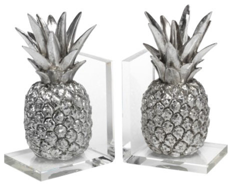 Tropical Pineapple Bookend, Silver