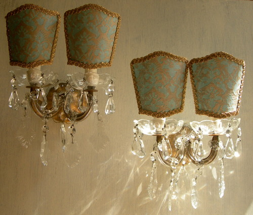 Pair of Italian Antique Maria Theresa Crystal Wall Sconces w Fortuny Lamp Shades