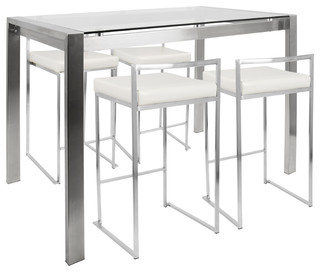 Fuji 5 Piece Contemporary Counter Height Dining Set, Stainless Steel And  White