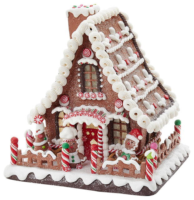 "10"" Battery-Operated Claydough LED Gingerbread House Tablepiece"