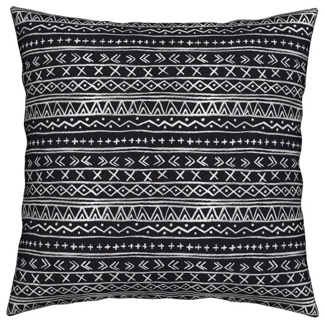 Chalk Tribal Stripe (Black) Black Mudcloth Throw Pillow, Organic Sateen