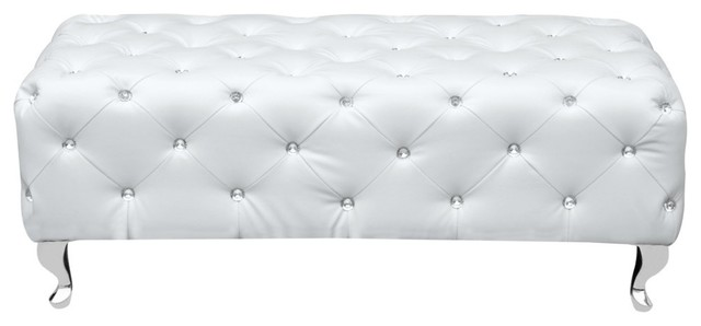 Fine Mod Imports Tufted Bench, White. -2