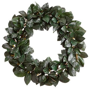 Silk Plants Direct Magnolia Leaf Wreath, Set Of 1.