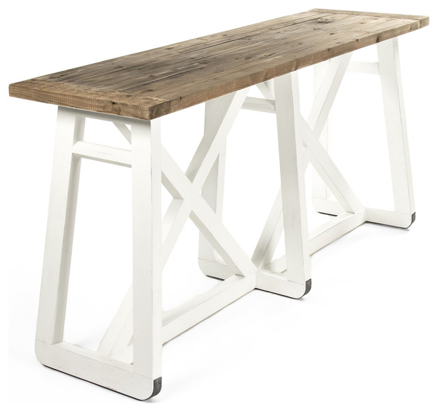 mirabel coastal beach rustic white reclaimed wood x base sofa rh houzz com Timber Sofa Table Cottage Sofa Table