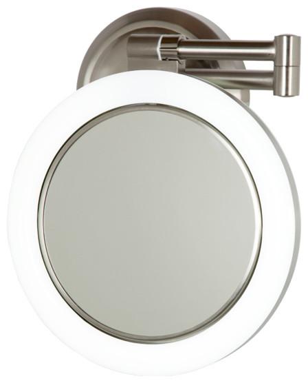 10x 1x Satin Nickel Surround Lighted Wall Mirror Modern