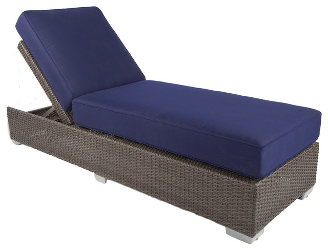 Signature Outdoor Chaise Lounge With Cushions Espresso Navy Blue