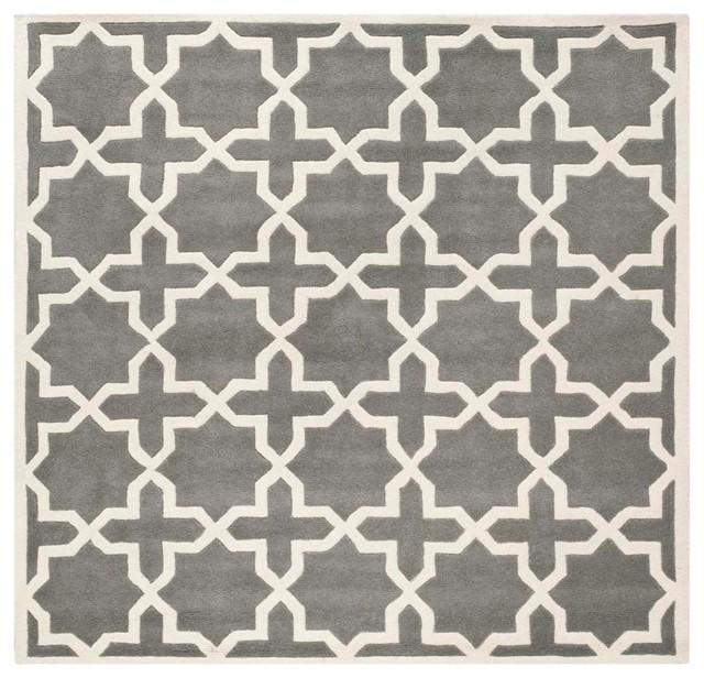 Safavieh Marleen Hand-Tufted Rug, Dark Gray And Ivory, 8&x27;9x8&x27;9 Square.