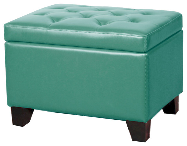 Julian Rectangular Bonded Leather Storage Ottoman, Turquoise  transitional-footstools-and-ottomans - Julian Rectangular Bonded Leather Storage Ottoman - Transitional
