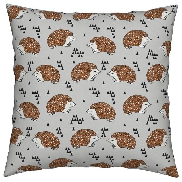 Geo Hedgehog Geometric Triangles Baby Nursery Throw Pillow Organic Sa