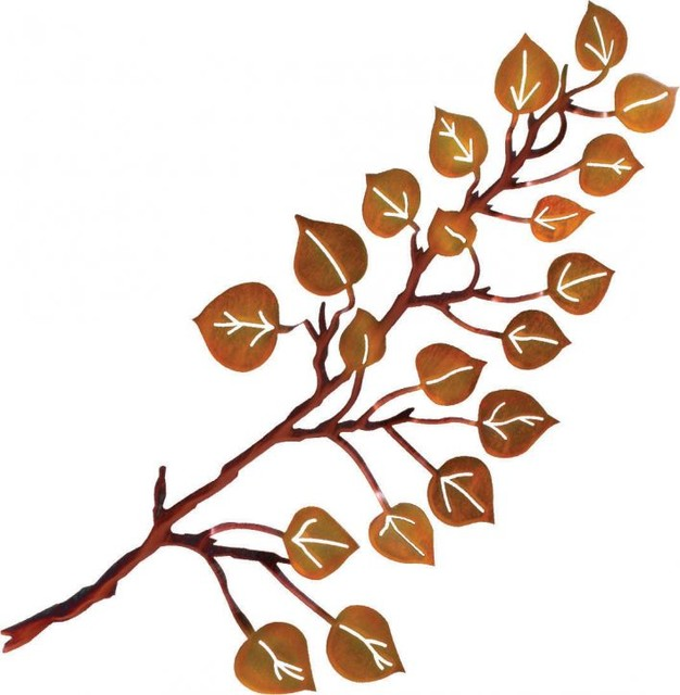 "Metal Leaf Wall Decor 3d aspen leaf rustic metal wall art 24"" - rustic - artwork -"