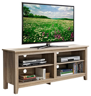 Walker Edison 58 Natural Wood Tv Stand Console View