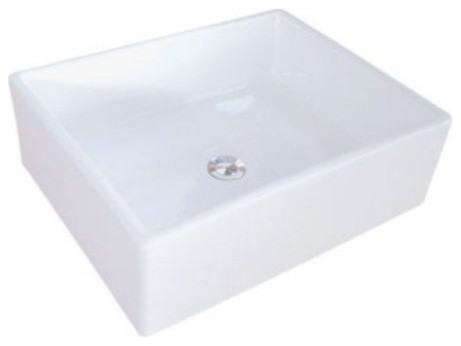 Elements White China Vessel Bathroom Sink Without Overflow Hole Ev4158.
