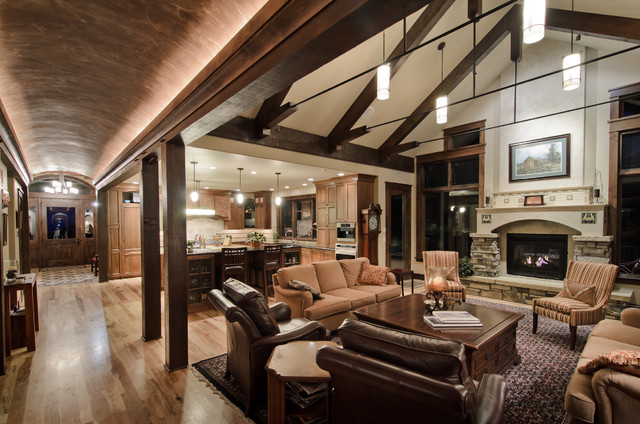Barrel Vault/Great Room Rustic Living Room