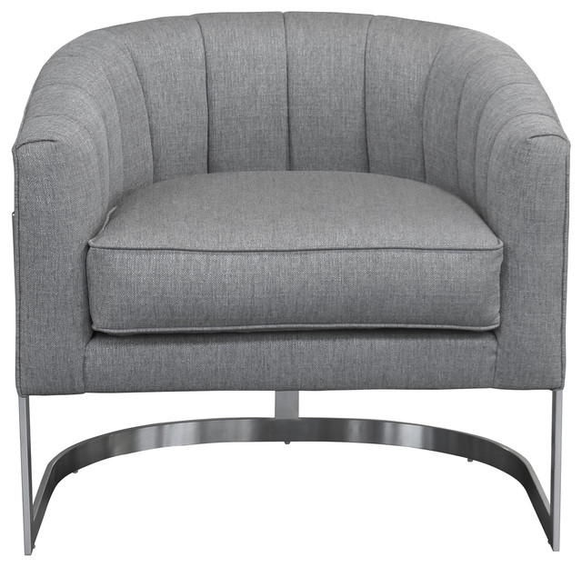 Surprising Paloma Accent Chair Brushed Stainless Steel Finish With Gray Fabric Lamtechconsult Wood Chair Design Ideas Lamtechconsultcom