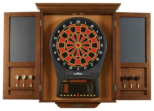 Dart Board Cabinet, Chestnut - Traditional - Darts And Dartboards - by Brunswick Billiards