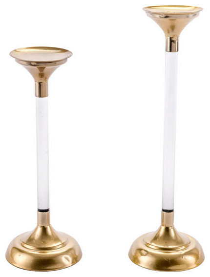 2 piece set lucite candle holders gold contemporary candleholders