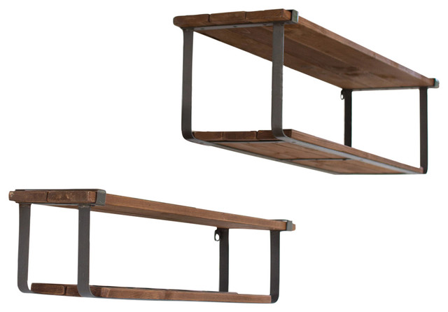 Attirant 2 Piece Recycled Wood And Metal Shelves Set