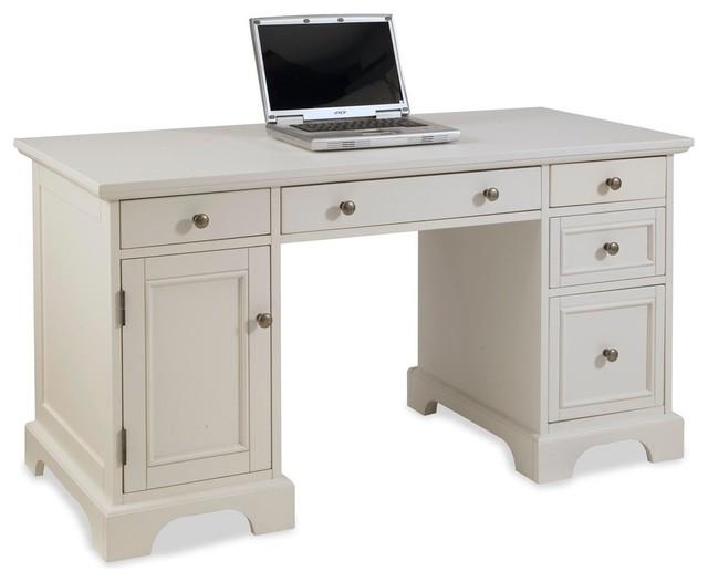 Naples Pedestal Desk White Transitional Desks And Hutches
