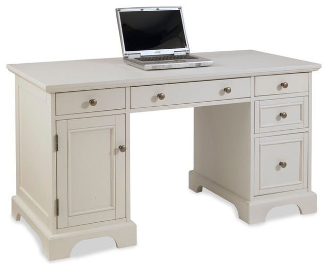 Naples pedestal desk white finish transitional desks and hutches by home styles furniture - Hutch style computer desk ...