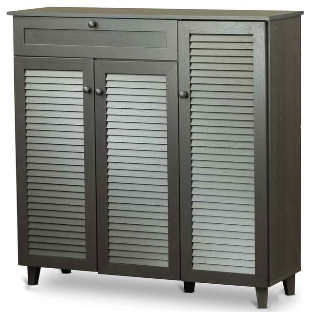 Pocillo Wooden Shoe Storage Cabinet, Dark Brown - Accent ...
