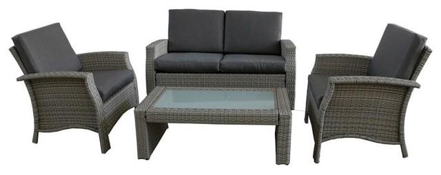 4 Piece Gray Resin Wicker Outdoor Patio, Grey Wicker Outdoor Furniture Sets