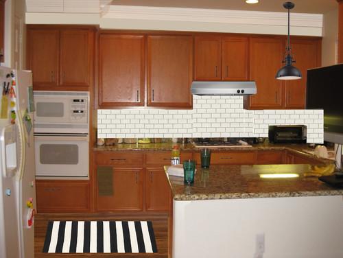 Kitchen Tiles For Oak Kitchen updating builder oak kitchen (photoshop)