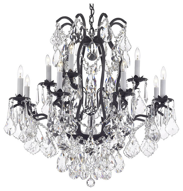 Crystal Chandelier With Diamond Cut Crystal, Without Shades