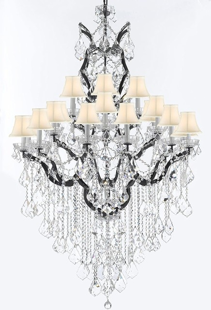 """Gallery T22-2597 25 Light 41"""" Wide Crystal Chandelier with Fabric Shades and Sw"""