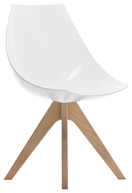 Gamma Chair, Matte White and Natural Oak Legs midcentury-armchairs-and- accent