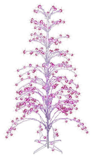 Pink LED Lighted Christmas Cascade Twig Tree Outdoor Yard Art Decoration, 6\'