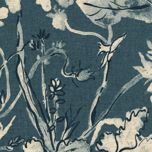 Garden Party Indigo Floral Blue Tie-Up Valance Cotton With Garden Party Ties.