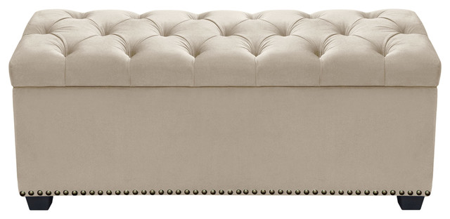 Majestic Tufted Lift-Top Storage Trunk in Tan