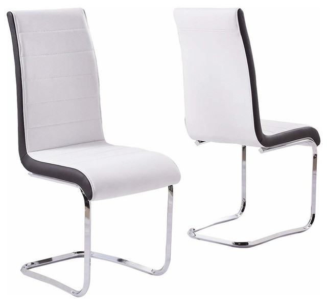 Modern Set of 2 Chairs Upholstered, Faux Leather With Chrome Plated Base, White